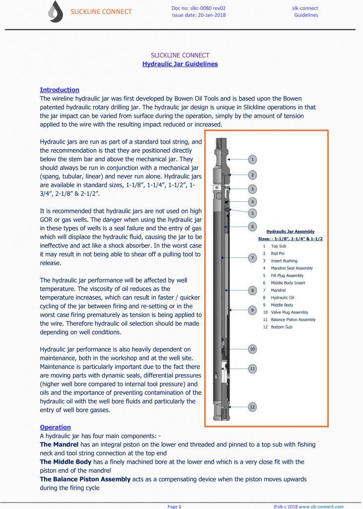 Hydraulic Jar Guidelines – Slickline Connect